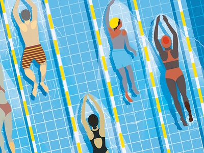 Swimmers fitness exercise pool swimmers swim vector illustration