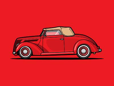 1937 Ford Cabriolet vector illustration red flat vector vector illustration ford car