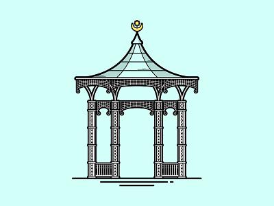 Southsea Bandstand vector art flat vector travel illustration portsmouth bandstand southsea