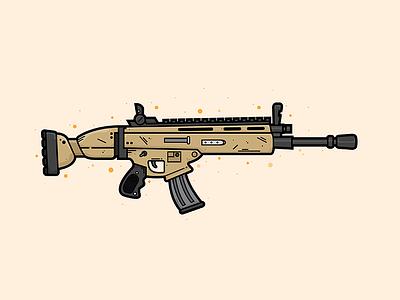 Scar Assault Rifle Illustration illustrator lineart vector illustration gun weapon assault rifle scar fortnite