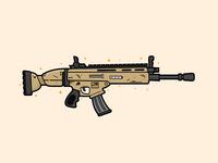 Scar Assault Rifle Illustration