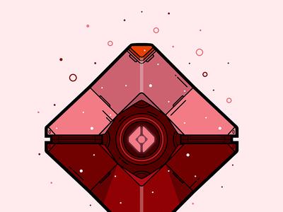 Destiny Crimson Ghost Shell Vector Illustration