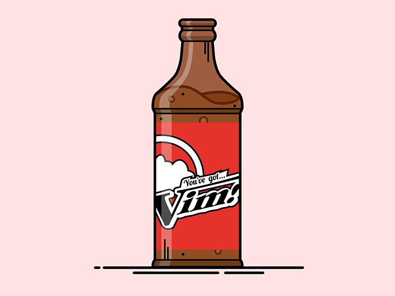 Fallout Vim Drink Bottle Illustration lineart illustrator illustration vector video game fallout drink bottle vim