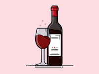 Wine Glass and Bottle Illustration