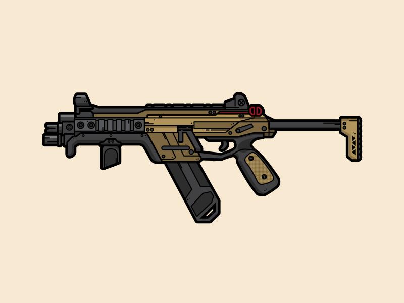 R-99 lineart illustration flat vector vector gaming gun weapon apex legends r99