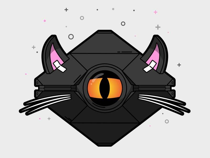 Nine Lives Ghost Shell lineart illustration vector destiny 2 ghost shell kitty cat destiny