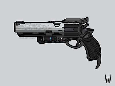 Hawkmoon vector art flat vector illustration vector weapon hawkmoon destiny