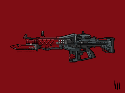Red Death flat vector vector art illustration weapon pulse rifle destiny red death