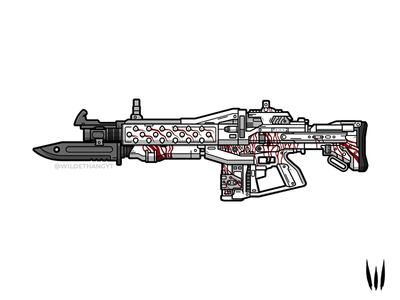 White Witch flat vector vector blood illustration weapon destiny pulse rifle white witch red death