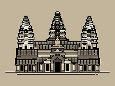 Angkor Wat flat vector vector illustration posters location travel poster travel angkor wat