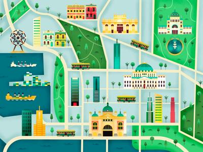 Map of Melbourne- blue texture city map vector map vectormap illustration illustrated map map flat design vector