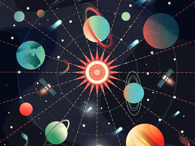Map of the solar system by Ariel Magnes | Dribbble | Dribbble