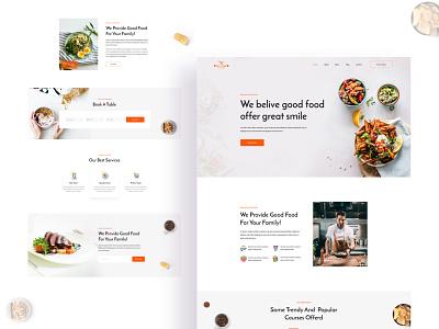 Restaurant Landing page web app landing page web desaign illustration design