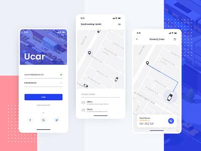Ucar Ride sharing app lifestyle product design business digital design product illustration design appuidesign appui uidesign uiux ui ux minimal taxi booking ubar ridesharing app rideshare
