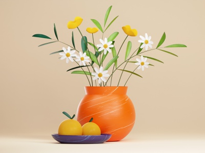 Harmony beautiful oranges green nature plate orange plant flower flowers vase lighting rendering texture 3dart design art artdirection