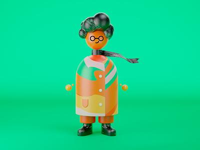 Jota Bolota b3d 3dartist colorful clothes hair concept color render mix texture fun education 3d character