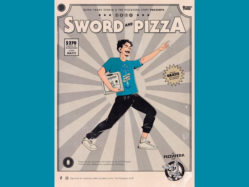 Sword and Pizza - Pizzayera japanese art gaymer gamer zelda tshirt pizza box pizza mexican type illustration design typography