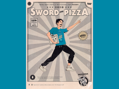 Sword and Pizza - Pizzayera japanese art gaymer gamer zelda tshirt pizza box pizza mexican type illustration design typography