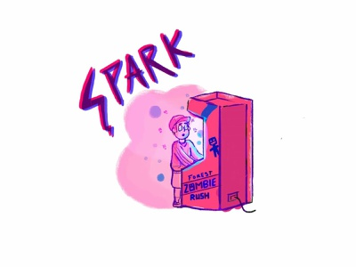 Spark illustration photoshop typogrphy doodle 90s arcade machine videogame pink rush zombie arcade videogames anxiety spark doodleart
