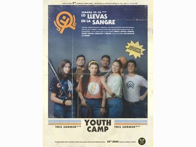 YouthCamp 80's youth camp 80s style 80s poster mexican christianity videogames christian design design doodleart logo branding typography type
