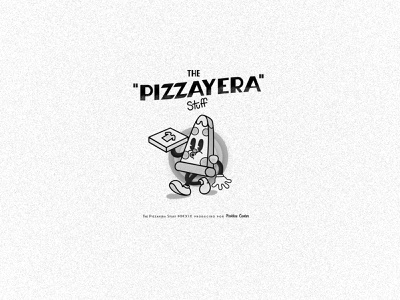The Pizzayera Stuff pizza menu blackandwhite cuphead cartoons oldie shirtdesign shirt pizza logo pizza box pizza mexican illustration logo vector branding design typography type doodleart doodle