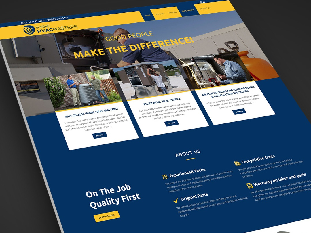 Irvine Hvac Website Design by Milos Ivelja on Dribbble
