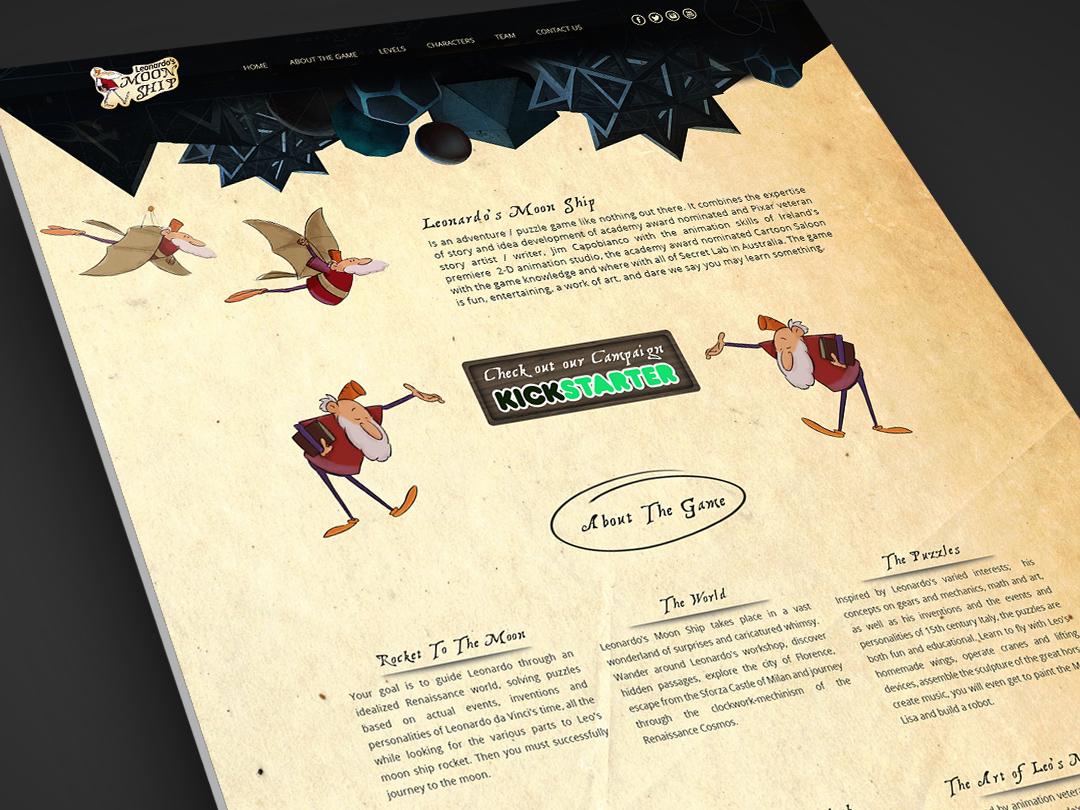Leonardo's MoonShip Website Design gaming cartoon leonardo da vinci website design company web design agency website design web design website