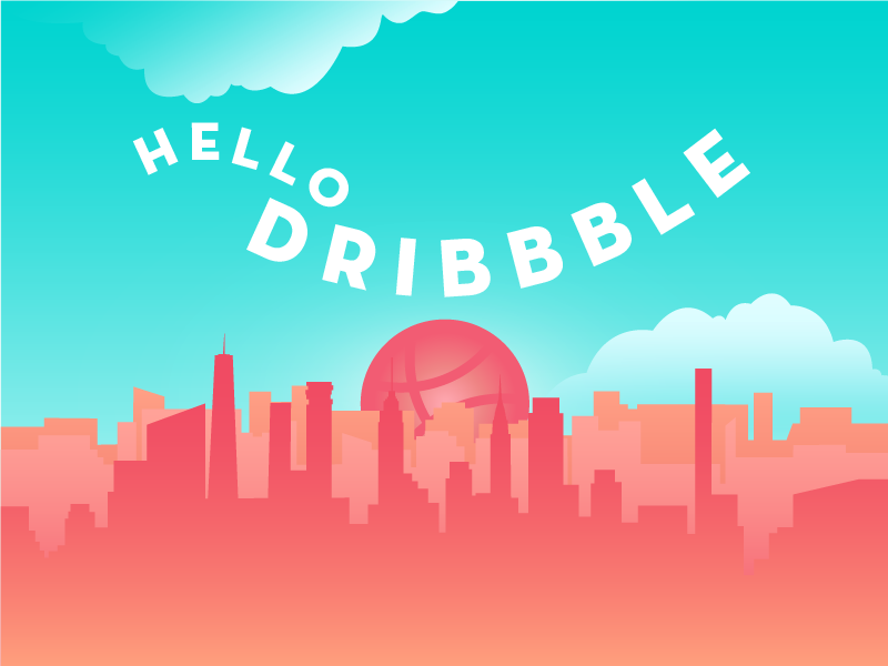 Hello Dribbble! debut sunrise gradient skyline nyc