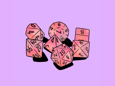 Dice, Inktober Day 11 nerd nerdy dice dungeons and dragons dnd drawing inktober 2018 inktober drawlloween illustrator procreate design ipad pro illustration