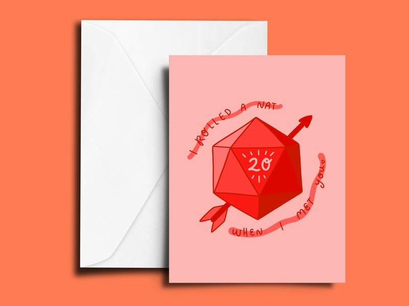 Nat 20 Valentine mockup mock greeting card card dice 20 sided die nat 20 valentines day valentine dnd dungeons and dragons