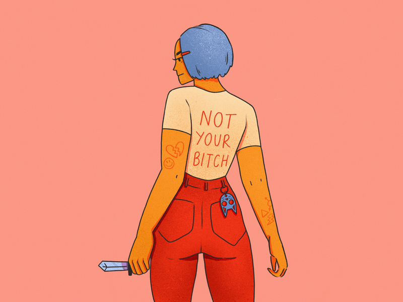 Graphic Tees, Pt. 1 women texture digital art drawing illustrator procreate ipad pro illustration tshirt design graphic tees graphic tee punk femme character not your bitch feminism feminist