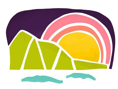 Mauka Sunset sunset sticker procreate hawaii design illustration