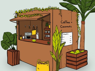 Coffee + Coconuts tropical background cafe cute procreate illustration
