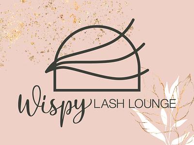 Wispy Lash Lounge Logo and Branding feminine pink branding logo