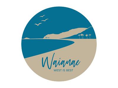 Waianae Hometown Sticker tan blue sticker hawaii illustration illustrator weekly warm-up