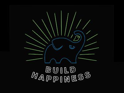 Build Happiness t-shirt design brand elephant gradle graphic shirt illustration