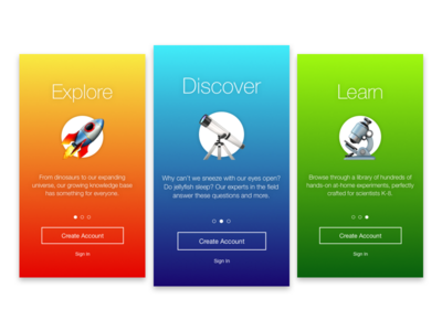 Daily UI 023: Onboarding design product visual ui typography emoji onboarding science app kids mobile ios dailyui
