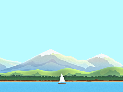 Lake Scene desgn scene background app illustration