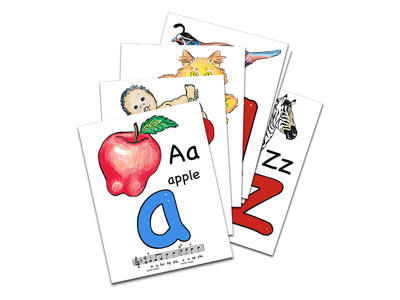 Sing and Trace Abc Flashcards flashcards illustration learning kids alphabet abc montessori