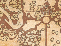 Hand drawn map of Disneyland