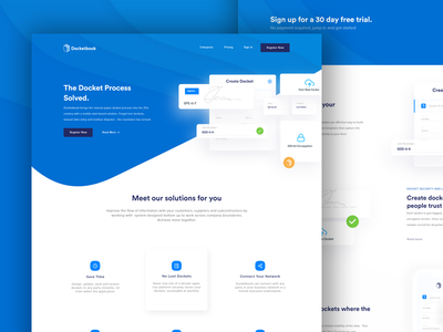 Docketbook Landing blue docket saas illustration ui docketbook startup landing