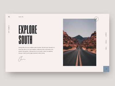 Explore South minimal blog article magazine landing