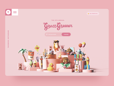 The Grass is Greener | 2019 minimal clay models 3d animation character music art festival banner 3d landing header hero