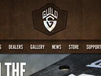 Guild Web Header web header guitar guild wood pearl ui ux inset