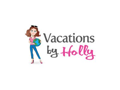 Holly travel woman globe logo illustration