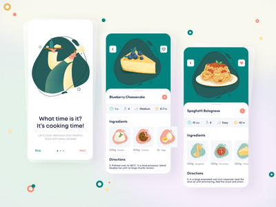 Cook.it Mobile App cooking recipe app recipe vector mobile ios mobileapp iosapp app illustration ux ui