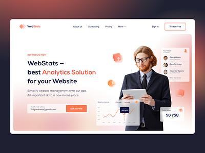 WebStats Promo Website glassmorphism grid layout promotional design landingpage website design typography interface ux ui