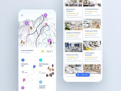 Skiing app UI design typography cards design ui mobileapp illustration ux mobile iosapp app ios