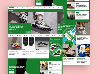 Sportswear page. Sneakers passion interface web photo fashion blog news typography branding design ui ux