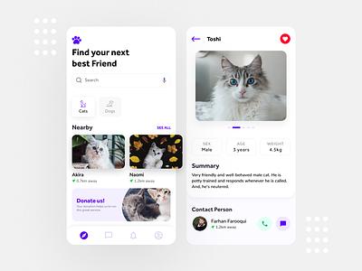 Cat and Dog Pet Adoption App figma pet animal animals dog cat pet pet adopt adopt pet app pet adoption app clean ux design user interface ui minimal ux